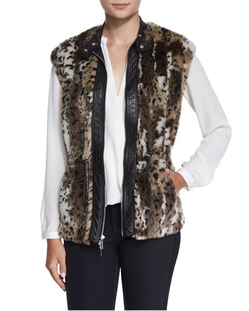 Faux-Fur Leopard-Print Vest by Rebecca Taylor in Empire