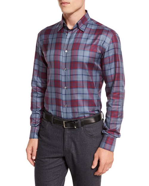 Tartan Plaid Long-Sleeve Sport Shirt by Brioni in Modern Family - Season 7 Episode 2