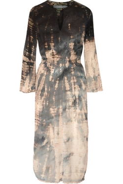 Tie-Dyed Crinkled Silk-Crepe Midi Dress by Raquel Allegra in Black-ish