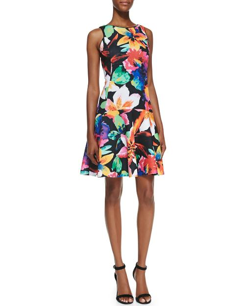 Sleeveless Floral-Print Fit-&-Flare Dress by Ali Ro in Get On Up