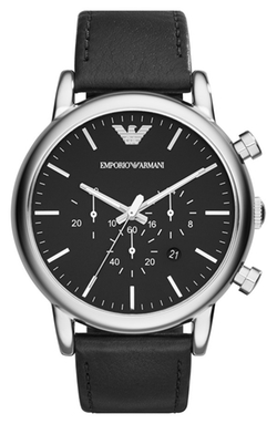 Chronograph Leather Strap Watch by Emporio Armani in Scream Queens