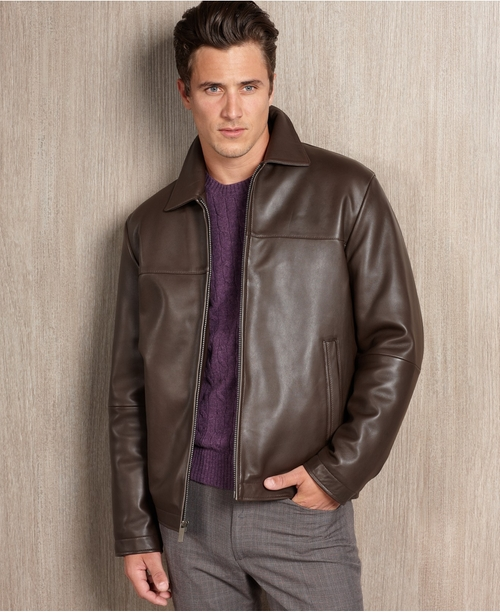 Portfolio Big and Tall Smooth Leather Jacket by Perry Ellis in Anchorman 2: The Legend Continues