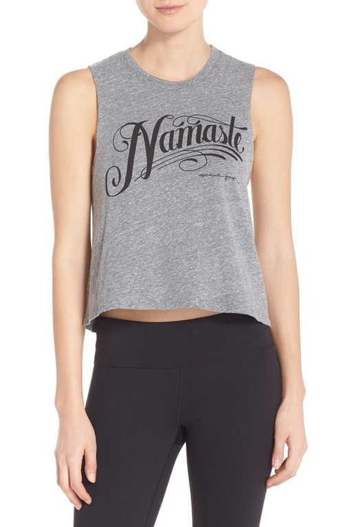 Namaste Crop Jersey Tank Top by Spiritual Gangster in Mistresses