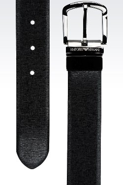Smooth and Saffiano Calfskin Reversible Belt by Emporio Armani in The Counselor