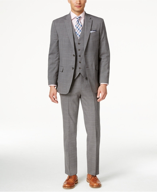 Men's Slim-Fit Grey Plaid Vested Suit by Tommy Hilfiger in Ballers - Season 2 Preview