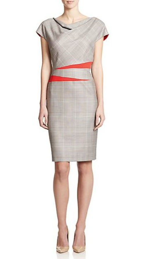 Draped Plaid Sheath Dress by Escada in The Good Wife - Season 7 Episode 2
