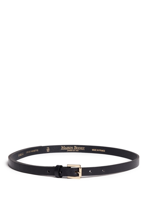 Skinny Cowhide Leather Belt by Maison Boinet in Knock Knock