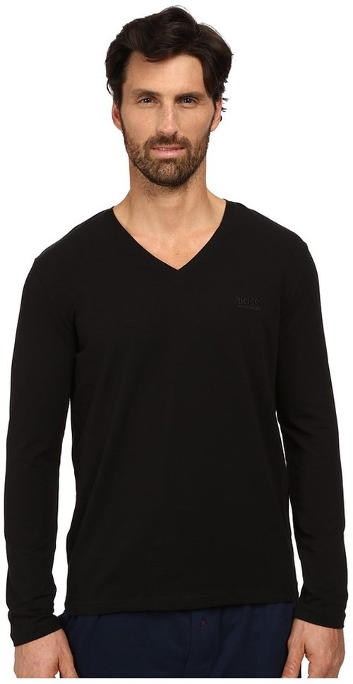 Long Sleeve Mix and Match V-Neck Cotton Shirt by BOSS Hugo Boss in Creed