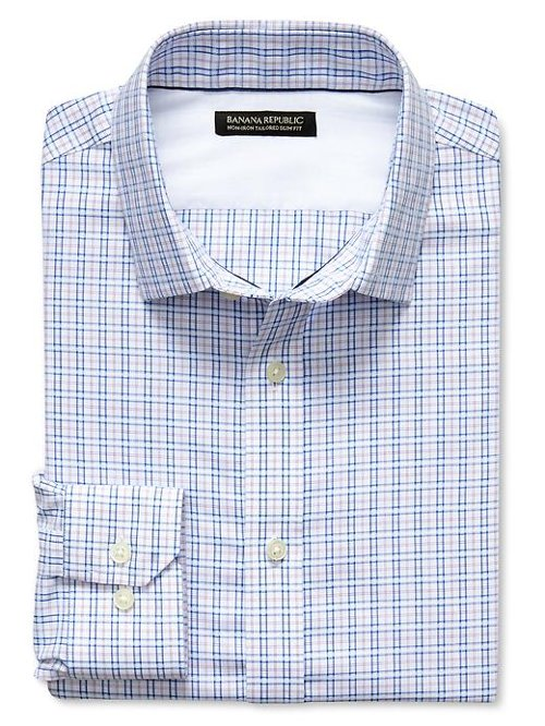 Slim-Fit Non-Iron Tonal Check Shirt by Banana Republic in Kick-Ass