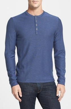 'Horace' Long Sleeve Cotton Henley Shirt by Robert Barakett in Quantico