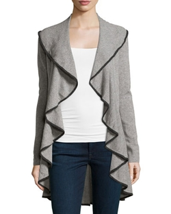 Cashmere Contrast-Piped Draped Cardigan by Autumn Cashmere in The Good Wife