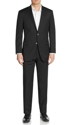 Academy Pinstriped Wool Suit by Corneliani in The Good Wife