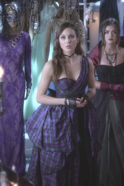 Custom Made One Shoulder Plaid Dress by Mandi Line (Costume Designer) in Pretty Little Liars