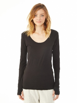 Rib Sleeve Scoop Neck T-Shirt by Alternative Apparel in Barely Lethal