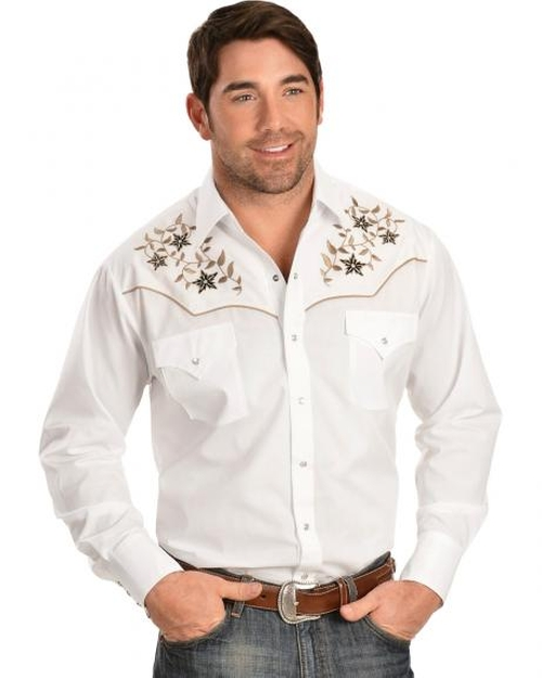 Embroidered Lurex Western Shirt by Ely Cattleman in Vacation