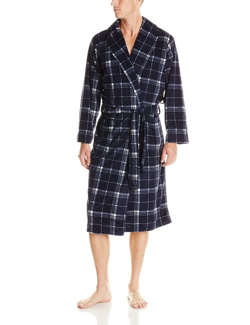 Plaid Micro-Plush Robe by Jockey in Krampus