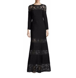 Long-Sleeve Pintucked Lace-Trim Gown by Tadashi Shoji in The Catch