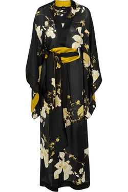 Printed Silk-Satin Robe by Carine Gilson in American Horror Story