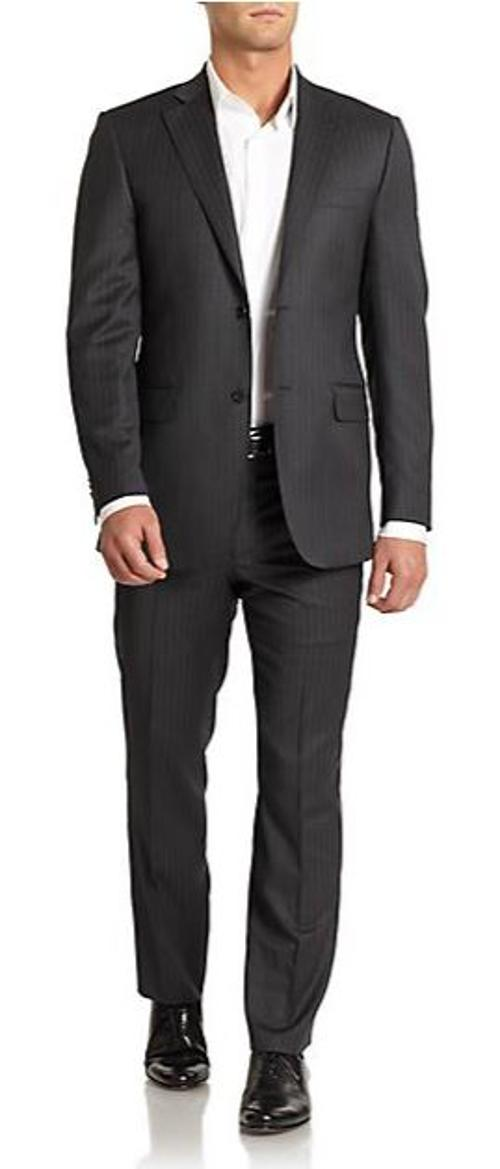 Striped Wool & Silk Classic-Fit Suit by Saks Fifth Avenue in The Purge: Anarchy