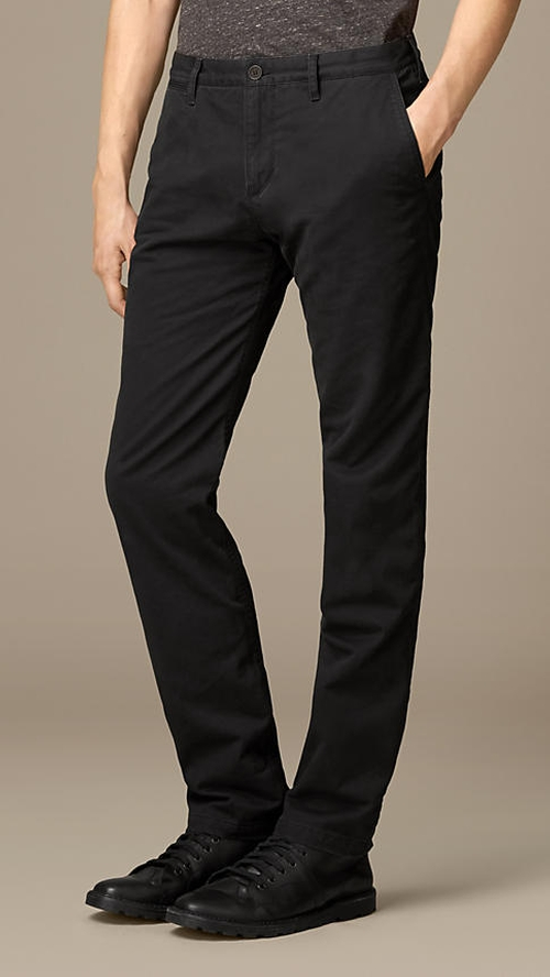 Straight Fit Flannel-Lined Cotton Chino Pants by Burberry in Mr. & Mrs. Smith