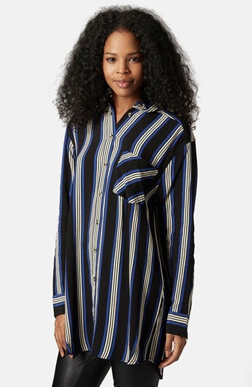 Oversize Stripe Shirt by Topshop in Pretty Little Liars - Season 6 Episode 5
