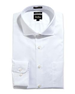 Trim-Fit Non-Iron White-On-White Dress Shirt by Neiman Marcus in Get On Up
