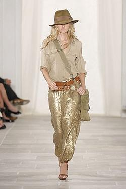 Gold Sequin Harem Trouser Pants by Ralph Lauren in Sex and the City 2