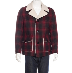 Shearling Plaid Wool Jacket by Saint Laurent in Master of None