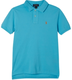 Short-Sleeved Cotton Polo Shirt by Ralph Lauren in Black-ish