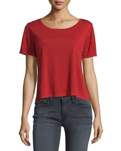 Boxy Short-Sleeve Tee by Frame Denim in Fifty Shades Darker