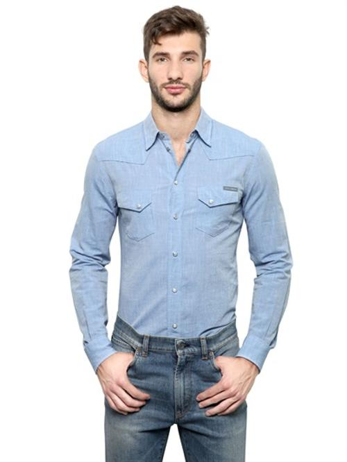 Muslin Cotton Western Shirt by Dolce & Gabbana in The November Man