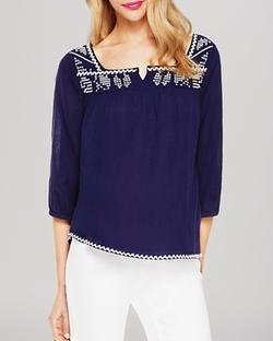 Embroidered Gauze Peasant Blouse by Vince Camuto in A Walk in the Woods