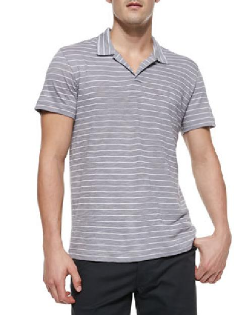 Willem Striped Silk-Cotton Polo, Gray by Theory in Million Dollar Arm