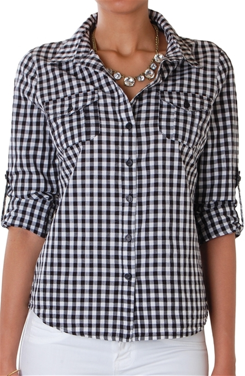 Gingham Check Shirt by Humble Chic New York in Neighbors 2: Sorority Rising