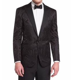 Tonal Art Deco Printed Tuxedo Jacket by Ralph Lauren in Empire