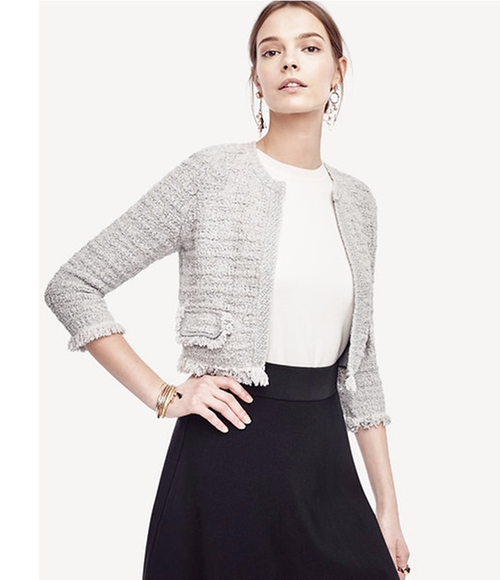 Cropped Knit Tweed Jacket by Ann Taylor in The Boss