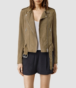 Suede Western Biker Jacket by All Saints in Arrow