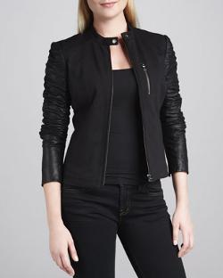 Ponte-Bodice Jacket with Leather Sleeves by Bagatelle in About Last Night