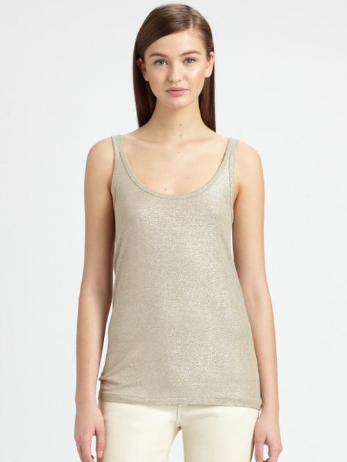 Gold Foilprinted Tank Top by Ralph Lauren Black Label in The Other Woman