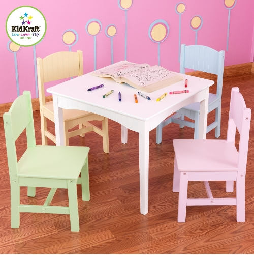 Nantucket Table & 4 Pastel Chair Set by Kid Kraft in Poltergeist