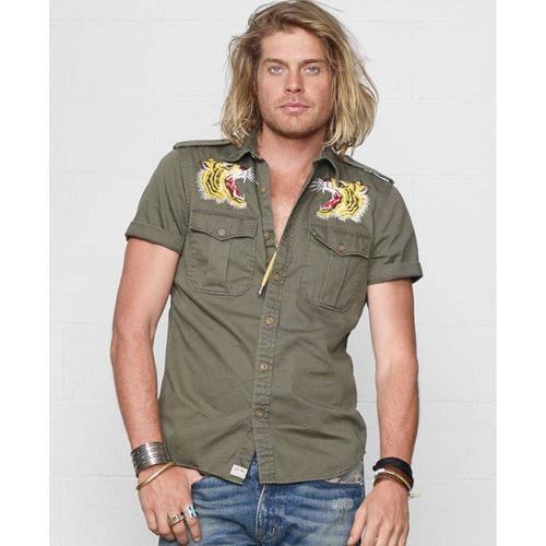 Green Embroidered Military Shirt by Denim & Supply Ralph Lauren in Ride Along 2