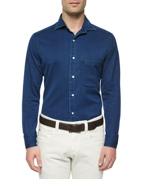 Alain Denim Long-Sleeve Sport Shirt by Loro Piana in Billions