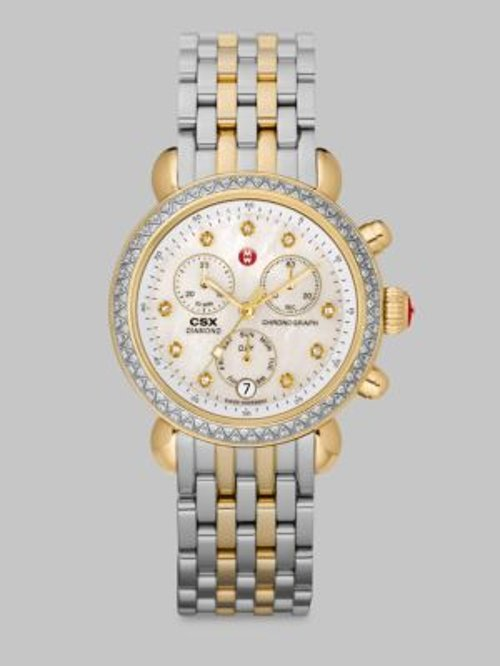 Diamond & Two-Tone Stainless Steel Chronograph Watch by Michele Watches in The Boy Next Door
