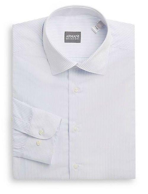 Thin Striped Cotton Dress Shirt by Armani Collezioni in John Wick