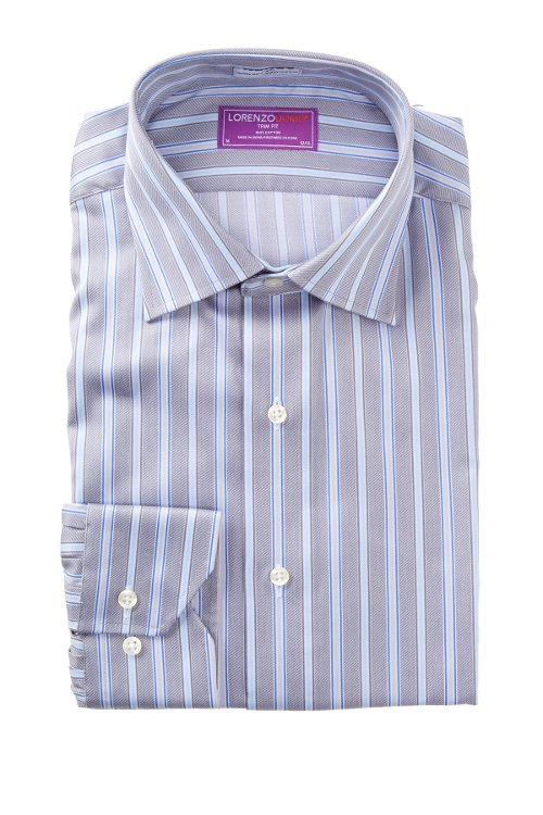 Striped Trim Fit Dress Shirt by Lorenzo Uomo in McFarland, USA