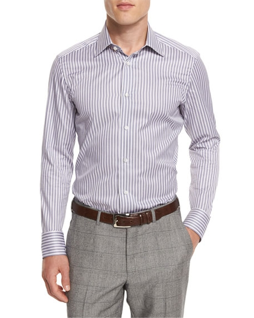 Bold-Striped Long-Sleeve Sport Shirt by Ermenegildo Zegna in Ballers
