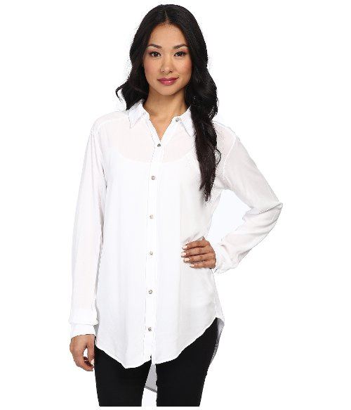 Modern Rayon Long Sleeve Extra Long Shirt by Michael Stars in Blackhat
