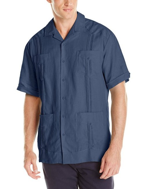 Men's Short Sleeve Linen Guayabera by Cubavera in Couple's Retreat
