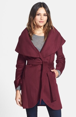 Wool Blend Belted Wrap Coat by T Tahari in Scandal