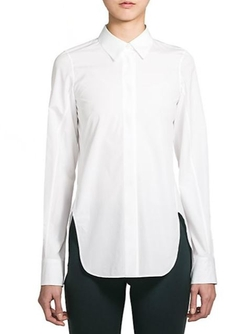 Veronica High-Slit Cotton Shirt by Jil Sander in Vacation